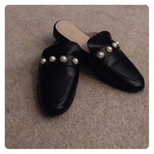 NWOT Black Slides with Pearl Embellishments